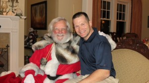 Scott Delius with Santa, who bears a striking resemblance to Fulton Superior Judge Jackson Bedford.
