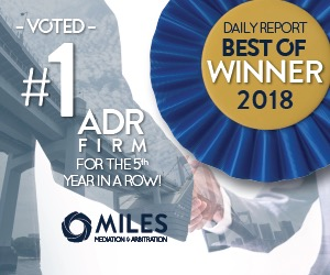 Miles Mediation & Arbitration Voted No. 1 ADR Firm for 5th Year in a Row